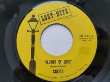 """THE CRESTS - Flower of Love / Molly Mae 1959 R&B DOO WOP 7"""" Lost Nite Reissue"""