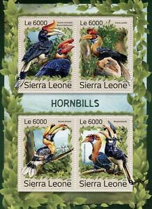 Sierra Leone Birds on Stamps 2016 MNH Hornbills Hornbill 4v M/S