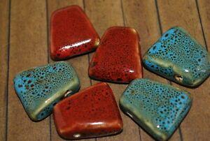 6 pcs Ceramic Glass beads - 30mm - A1384a+