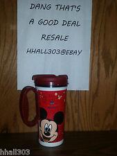 2009 Disney Parks Coca cola Travel Mug Cup Red Handle/Lid Mickey Goofy Donald
