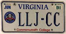 Vanity LLJ COMMONWEALTH COLLEGE CC license plate Laura Lara Luke Larry Leo Liam