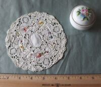 """French Antique Handmade Linen, Lace & Floral Hand Embroidered Doily~5.5"""" Round~"""