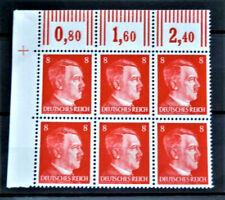 WW2 GENUINE HITLER 3rd REICH ERA GERMAN BLOCK OF 6 STAMPS A.HITLER + MARG 8rf