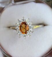 PRONG NATURAL CITRINE  ZIRCON 925 STERLING SILVER RING JEWELRY SIZE US 3 TO 13