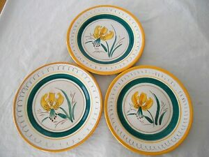 "3 STANGL GARDEN FLOWER 9 3/8"" PLATES w/ YELLOW TIGER LILY"