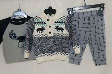 Gymboree Baby Boy 3 Piece Sweater/Pant Outfit - Size 12-18 Months - Blue/Grey