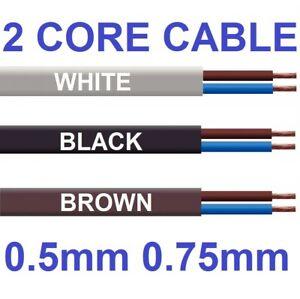 2 Core Flat Cable 3amp 0.5mm Flex 6amp 0.75mm PVC Wire 1m 100m 2192Y Black White