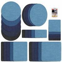 Premium Denim Iron On Jean Patches Blue Shades 30 Pieces Cotton Jeans Repair Kit