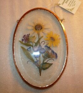 Dried Pressed Flowers in Beveled Glass Copper Oval Frame Suncatcher  4 x 6