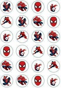 24 x Edible Cupcake Toppers - Rice / Wafer Paper - Perfect for Spiderman Fans