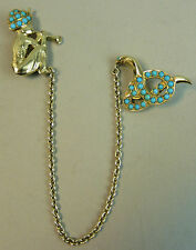 FINE QUALITY VINTAGE SILVER GILT & TURQUOISE SNAKE & CHARMER BROOCH - 16 GRAMS