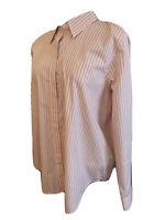 XL Chaps Women's Pink Striped Button Up Shirt Blouse New NWT Long Sleeve