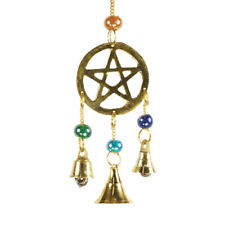 "Brass Pentagram Dreamcatcher-Style Wind Chime with Bells & Beads 9"" Length"