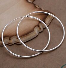 Women's Silver Classic Medium Endless Thin Hoop Earrings 5CM / 2 in