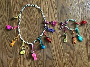 Vintage 1980s Plastic Bell Clip Charm Necklace & Bracelet 13 RARE Charms