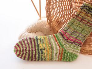 dicke bunte Socken, Damensocken, Wollsocken, Handarbeit, Gr. 38-39