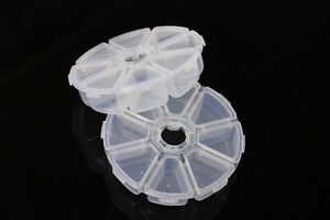 2 pcs Fly Tying Beads Round Container Plastic Box 8 Compartments Fly Fishing Box