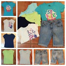 ☀️Girls Lot Outfit 5x Tee Shirts 1x Old Navy Blue Jean Denim Shorts L 10-12
