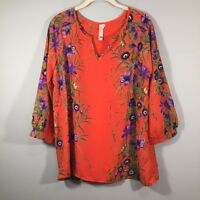 Pink Owl Apparel Women's Orange Multicolor Floral Blouse Polyester Size Large