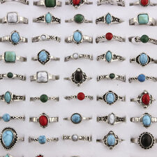 10pcs Women Natural Turquoise Stone Rings Vintage Silver 16-19MM Size Mixed Gift