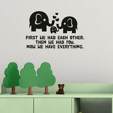Elephant Family Love Wall Sticker Vinyl Wall Decal Kids Room Nursery Quote Decor