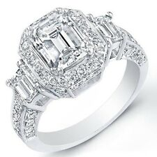 2.57Ct Emerald Cut Diamond 3-Stone Micro Pave Halo rectangle Engagement Ring NEW