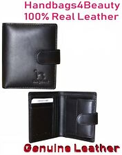 Mens Soft Real Genuine Leather Wallet, ID Window, Zip And Coin Pocket Black 32