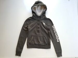 Abercrombie Kids Boys Pullover Hoodie Half Button Down Sherpa Lined Hood Size S