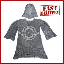 Butted Aluminium Chain Mail Shirt & Coif Set Chainmail Haubergeon with Hood