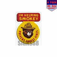 Smokey The Bear 4 pack 4x4 Inch Sticker Decal