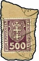 Danzig - Porto Mi. P19X Briefst. Fotoattest Gruber BPP 500 M. mit Was.. (3270)
