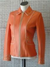 ST JOHN SPORT~Marie Gray~Coral Leather~Gold Tone SJ Zip+Hardware Fit Jacket~P~S