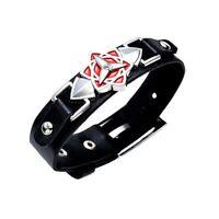 Naruto Bijou Bracelet Cuir Logo Sasuke Uchiwa Eternal Mangekyo Sharingan Cosplay