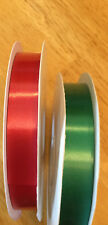 "POLY SATIN RIBBON LOT OF 2  1 RED & 1 GREEN  100 Yd Yard Roll 3/8"" WIDE"