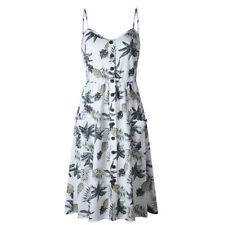 Women Summer Boho Style Midi Dress Evening Party Strappy Dress Print Dresses