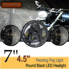 "7"" LED Head Light & Pair 4.5 inch Auxiliary Spot Lamps Black Fit Harley Davidson"