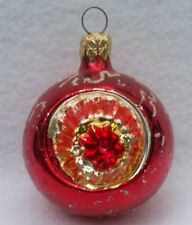 VINTAGE RED GLASS INDENT REFLECTOR CHRISTMAS ORNAMENT B2