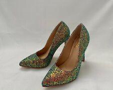 GLAZE Women's Glitter Pointed Toe 4in Stiletto High Heels Pumps - Multi Color