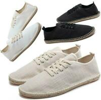 Mens Casual Lace Up Flat Espadrilles Canvas Loafers Sneakers Summer Walking Shoe