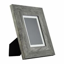 Bauhaus Table-Top 5x7 Modern Gray Barnwood Standing Picture Frame with Mat