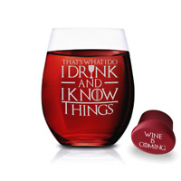Game Of Thrones Wine Glass - I Drink and I Know Things - 1 Stemless Glass 15 OZ