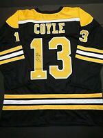 Charlie Coyle Boston Bruins Autographed Signed Black Style Jersey XL coa JSA