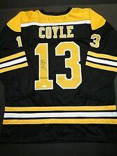Charlie Coyle Boston Bruins Autographed Signed Black Style Jersey XL coa JSA-