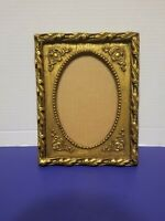 ANTIQUE VTG. GOLD GILDED WOOD BELGIUM PICTURE FRAME ORNATE WALL HANGING 5x7 TAG