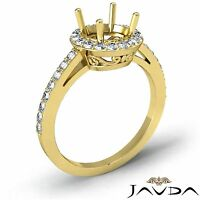 Diamond Engagement Filigree Pave Ring Round Semi Mount 14k Yellow Gold 0.45Ct