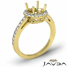 Diamond Engagement Filigree Pave Ring Round Semi Mount 14k Yellow Gold 0.45Ct