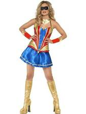 FEVER HERO HOTTIE COSTUME, SUPERMAN,SUPERWOMAN FANCY DRESS, MEDIUM 12-14