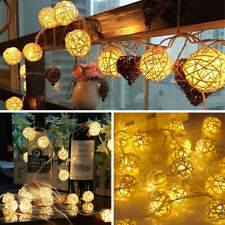 2M 20 LED Christmas Rattan Ball String Light Fairy Wedding Party Xmas Decoration