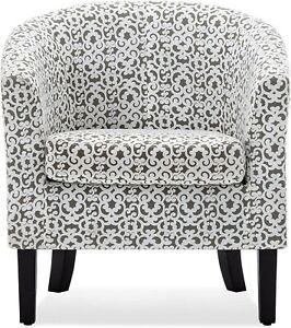 BELLEZE Upholstered Barrel Chair Tub Club Armrest Accent Fabric Living Room