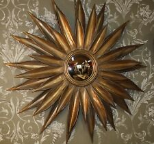 Glace / Miroir soleil en tôle doré(oeil de sorcière) diam 87 cm